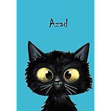 Azad: Personalisiertes Notizbuch, DIN A5, 80 blanko Seiten mit kleiner Katze auf jeder rechten unteren Seite. Durch Vornamen auf dem Cover, eine ... Coverfinish. Über 2500 Namen bereits verf