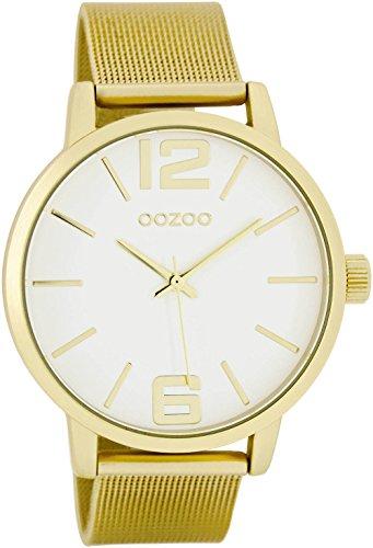 Oozoo Damenuhr mit Metallband 40 MM Weiss/Gold/Gold C7977