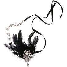Traje De Vestido De Novia Venda De La Pluma De La Aleta De Lujo Hairband Celada Negro