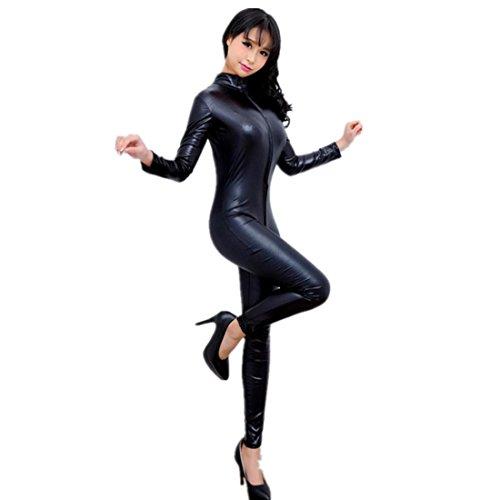Lencería Mujer Amlaiworld Mono Mujer cuero ropa interior super cremallera hueco camisón (L, Nergo)