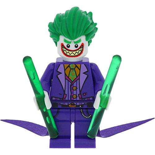 LEGO Batman Minifigur The Joker mit langem Umhang aus Set 70900 + 2x GALAXYARMS Stab dunkelgrün
