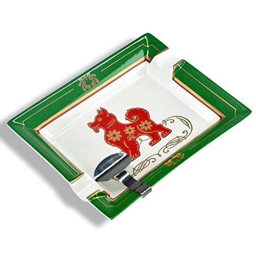 JLZS Cigar Posacenere rettangolare Bone China Handmade Dog Anno Green Green Belt Bracket Novel Commemorative Edition (Colore : A)