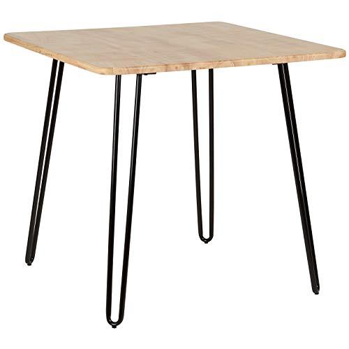 Hartleys – Tisch mit massiver Holzplatte und Hairpin-Beinen in Schwarz