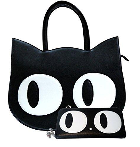 banned-apparel-gato-paw-grande-bolso-de-cuero-de-imitacion-cartera-set-negro