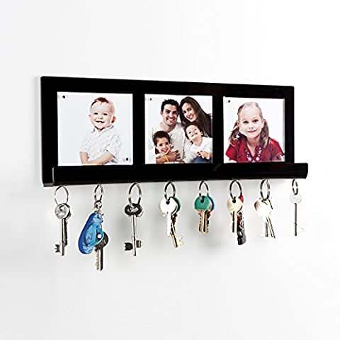 Key Holder - Wall Mounting with Photo Inserts and Magnetic Holders