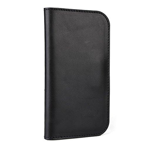 Housse étui portefeuille en cuir véritable pour Huawei Ascend y540 Brun - peau noir - noir