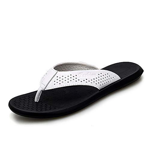 Rioja Herren Flip Flops Strand Sandalen Anti-Rutsch Zapatos Hombre Casual Schuhe Großhandel Sommer Atmungsaktiv einfarbig, Weiß - weiß - Größe: 39 EU -