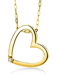 Miore 9 kt Yellow Gold Necklace with Round Brilliant (0.01ct) on Heart Pendant on 42cm Belcher Chain for Women
