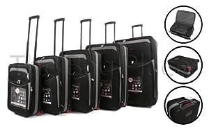 Black Grey Cities 5 Piece 2 Wheeled Suitcases Lightweight Nylon Set Cabin Bag Set