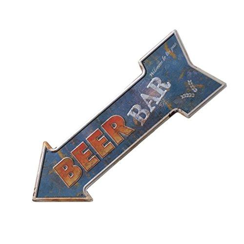 Sharplace Retro Pfeilschild Pfeil Schild Blechschild Hinweisschild Türschild, Kaffee Café Deko - Beer Bar, 450 * 160mm (Bier-pfeil)
