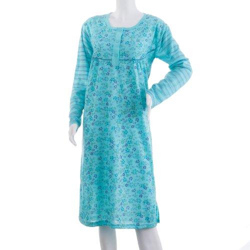 Lucky chemise de nuit à manches longues avec rayures et motif fleurs impression chemise de nuit trend hiver de nuit Bleu - Océan