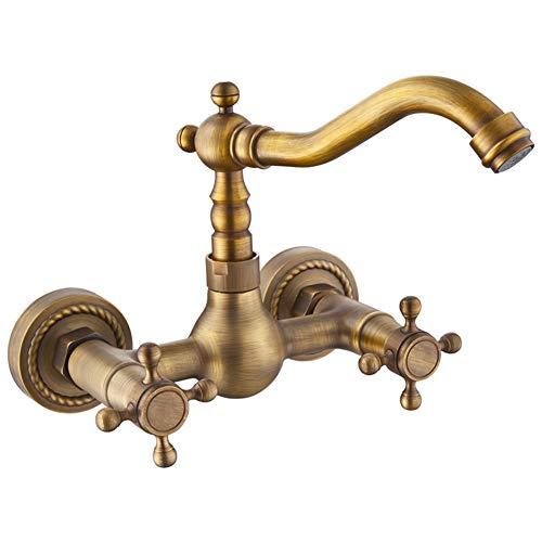 Antiker Wasserhahn,alle Kupfer Europäische Vintage Wasserhahn,badewanne Wasserhahn,wand Wasserhahn 360° Drehbare Bad Wasserhahn-f (Vintage-kupfer-badewanne)