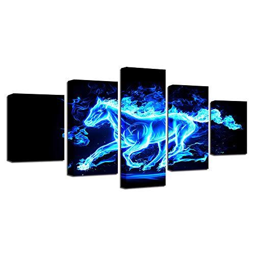 CFYH Wandbilder, Leinwanddrucke Modernes Dekor - Wand Kunstdruck Bild - Bild auf Leinwand gedruckt - 5 Stück - 200X100 - Foto - Blaues Pferd der Stereoanlage 3D XXL,Aveccadre,80X150cm