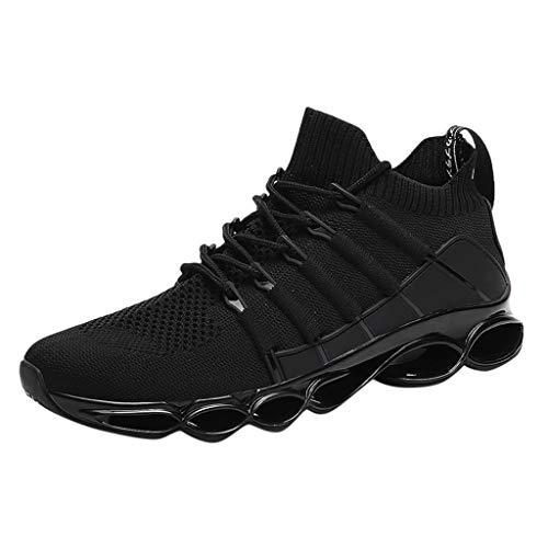Anglewolf Herren Leichte Freizeitschuhe Atmungsaktiv Turnschuhe Sportschuhe Bequem Fitness Mesh Air Schuhe Leichtgewichts Laufschuhe Freizeit Atmungsaktive Sneakers (Schwarz,42 EU)