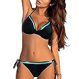 Mymyguoe Damen Riemchen Bademode Push Up Bikini Set Zweiteilige Badeanzug Strandkleidung Neckholder Einfarbig Bikinioberteile Sport Split Solide Bikinihose Strandmode