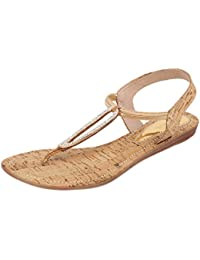 Catwalk Golden Leather Sandals for Women's
