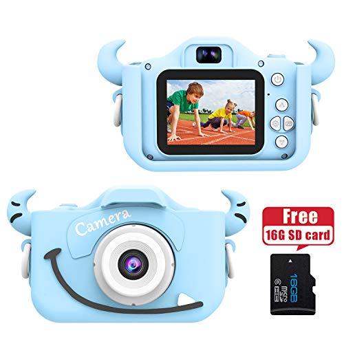 """Wurkkos Kids Digital Camera,12.0 Megapixel Kamera mit Einer kindgerechten,Niedlichen Silikonhülle,geeignet als Geburtstagsgeschenk BZW.Spielzeug,2.0\""""Display 1080P HD Kamera mit 16GB SD Karte,Blau"""