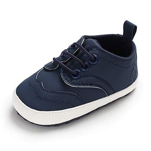 LACOFIA Baby Jungen Lauflernschuhe Kleinkinder Weiche Sohle Schnüren Sneakers Marineblau 3-6 Monate