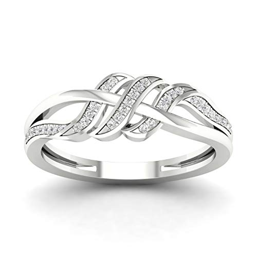 10CT White Gold Diamond Engagement infinity Ring Size 7.5 (0.10ct/SI2,H-I)