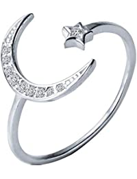 925 Silber plattiert Ring Stern Mond Zirkonia Silberfarbe Damenring Design NEU