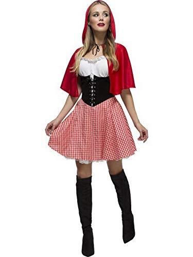 Luxuspiraten - Damen Frauen Rotkäppchen Kostüm mit kurzem Kleid und Umhang mit Kapuze, perfekt für Karneval, Fasching und Fastnacht, S, Rot