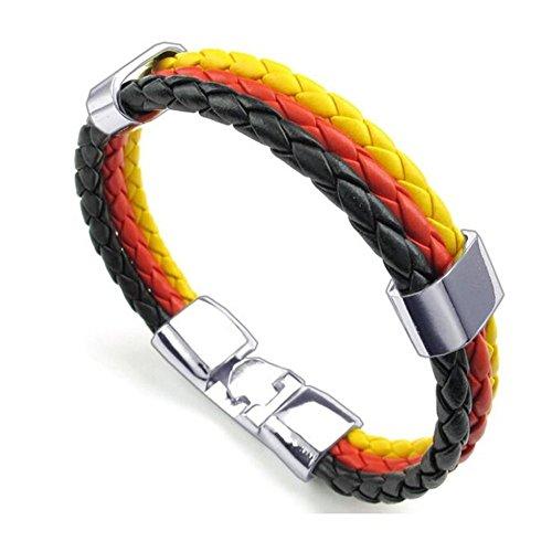 Trixes geflochtenes Armband in den Farben der Deutschen Fahne schwarz rot und gelb Unisex Trikolore für Sportveranstaltungen und Nationale Events