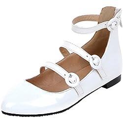 YE Damen Spitze Flache Pumps Bequem Ballerinas Lack Schuhe mit Riemchen und Schnalle