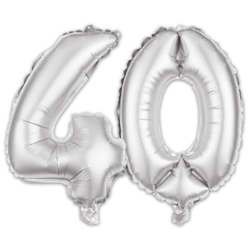 (iFancy Ballon Zahl 40. Geburtstag in Silber - Folienballon Zahlen Party Geschenk Dekoration Luftballon Happy Birthday)
