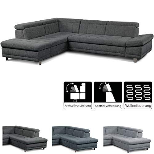 """Cavadore Sofa \""""Imit\"""" in L-Form / Ecksofa mit Ottomane links inkl. Kopfteilverstellung + Armteilfunktion / Rückenecht / Metallfüße / Größe: 275x76-89x217 cm (BxHxT) / Strukturstoff in anthrazit (grau)"""