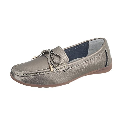 Ital-Design Mokassins Leder Damen-Schuhe Mokassins Moderne Halbschuhe Silber Bronze, Gr 40, 9008-