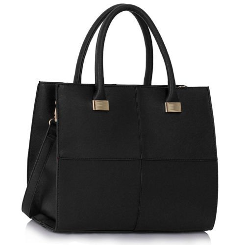 womens-check-print-designer-faux-leather-celebrity-style-tote-handbag-black-large