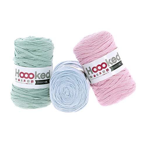 Hoooked RibbonXL Sparset aus 3 Rollen je 120 Meter Riesen-Textilgarn aus recycelter Kleidung in Powder Pastell -