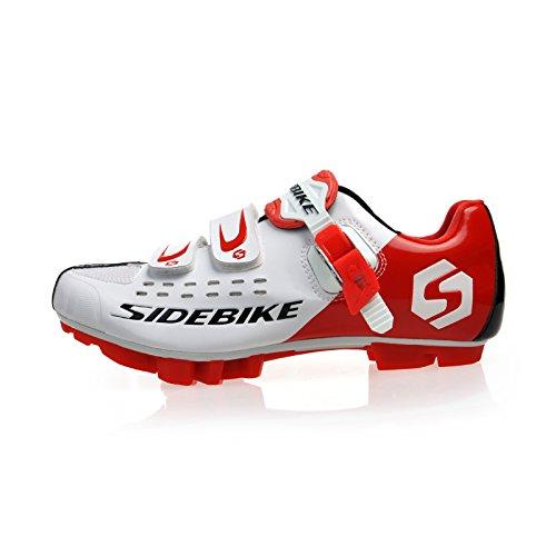 Preisvergleich Produktbild Herren Damen MTB Fahrrad Schuhe Radschuhe EU Größe 42 (Fusslänge : 270mm) Breite 88.74mm,weiß / rot
