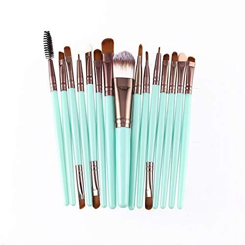 Pudincoco 15 Pcs/Kit Pinceaux De Maquillage Ensemble Cils Lèvres Fond De Teint Poudre Ombre À Paupières Sourcils Eyeliner Cosmétique Maquillage Pinceau Beauté Outil (Vert & Café)