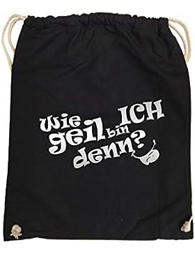 Comedy Bags - Wie geil bin ICH denn? - ZUNGE - hipster Turnbeutel, bedruckter Gymbag aus 100 % Baumwolle, praktischer...