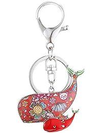 Luckeyui Unique Double Baleine Porte-clés pour Femme coloré en émail Mignon  Mer Animaux Porte 1e1caa1d55b