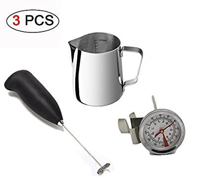 Ungfu Mall Milk Frothing Pitcher Thermometer Coffee Frother Electric Whisk Cappuccino Frother Wand Milk Mixer Milk Frother Jug Stainless Steel Kitchen Pouring Coffee Cream Cup with Measurement 350ml