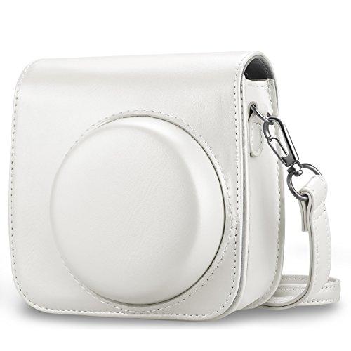 Fintie Tasche für Fujifilm Instax Mini 8 / Mini 9 Sofortbildkamera - Premium Kunstleder Schutzhülle Reise Kameratasche Hülle Abdeckung mit Abnehmbaren Riemen, Helles Weiß
