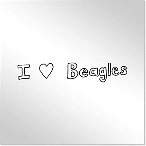 10cm 'I Love Beagles' Decorative Acrylic Mirror Tile (MT00008368)