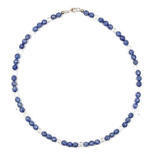 Collar de dumortierita y cristal de roca, con cierre, de plata de ley 925, número de modelo 7019