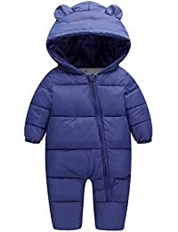 EFINNY Boys Girls Hooded Puffer Jumpsuit Snowsuit Winter Warm Thick Down Romper