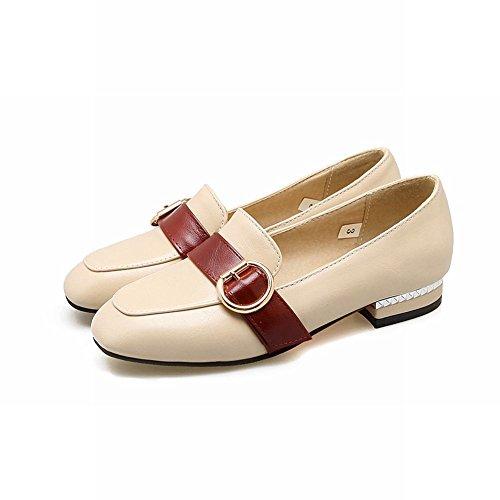 MissSaSa Donna Scarpe col Tacco Basso Bello e Fashion Shoes Beige