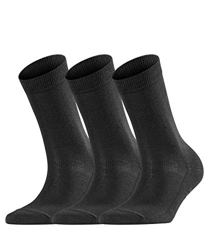 FALKE Damen 3-Pack W SO Casual Socken Family Baumwoll Strümpfe Einfarbig 3 Paar, Blickdicht, Schwarz (Black 3009), 39-42 (3er Pack)