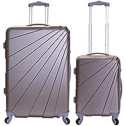 Slimbridge Valise Rigide à roulettes pivotantes de qualité supérieure avec Serrure intégrée - Ensemble Lot de 2 valises rigides pièces, Fusion Champagne