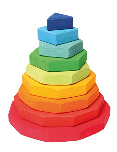 Grimm's Wooden Conical Stacking Tower of 9 Rainbow-Colored Geometric Shapes (from Triangle to 11-Sided) by Grimm's Spiel und Holz Design