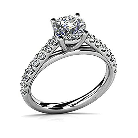 925 Sterling Silver Women Engagement Ring and Wedding Band Cubic