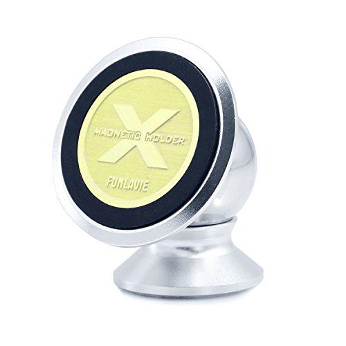 FUNLAVIE Support Telephone Voiture Magnétique Rotation 360 degrés Compatible avec tous les téléphones, lecteurs MP3, iPhone SE, 6,6 Plus, 5s, Samsung Galaxy S7/S6, Edge S7/S6, Huawei, Wiko,HTC,etc