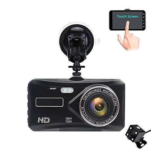 QAX Dashcam Auto Dash Camera 4 Zoll Metall Touchscreen Touch IPS-Bildschirm Fahrrekorder 1080P HD-Doppellinse die Bildbewegungsüberwachung 170 ° Weitwinkel aufnimmt