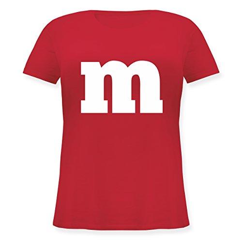 (Karneval & Fasching - Gruppen-Kostüm m Aufdruck - L (48) - Rot - JHK601 - Lockeres Damen-Shirt in großen Größen mit Rundhalsausschnitt)