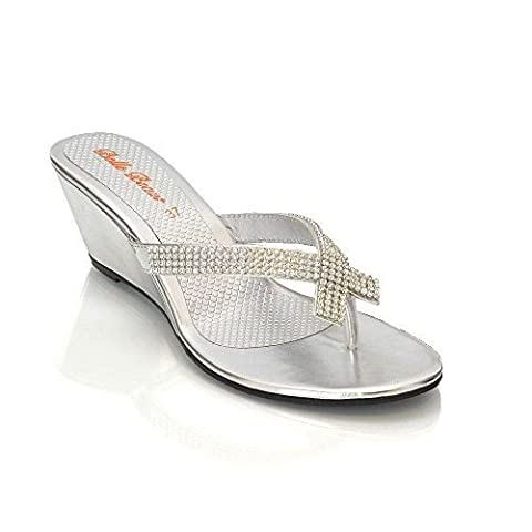 NEW WOMENS DIAMANTE TOE POST LADIES DRESSY PARTY SPARKLY WEDGE